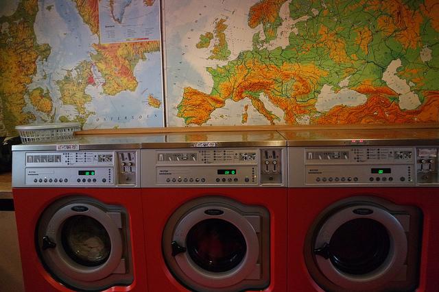 Un café - lavandería. Copenhague lowcost.