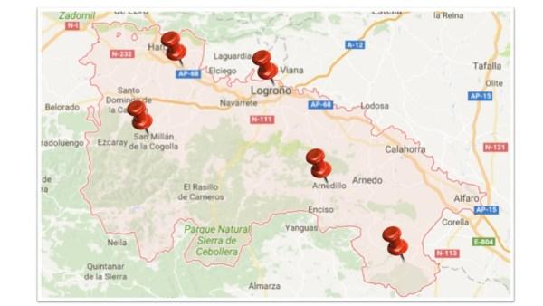 Mapa de La Rioja.