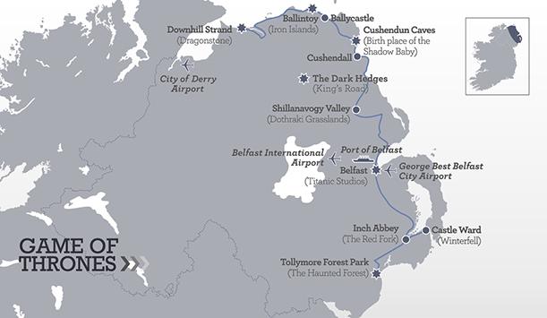 Mapa ruta de Juego de Tronos en Irlanda del norte