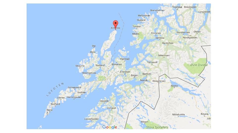 Mapa de Vesteralen, norte de Noruega