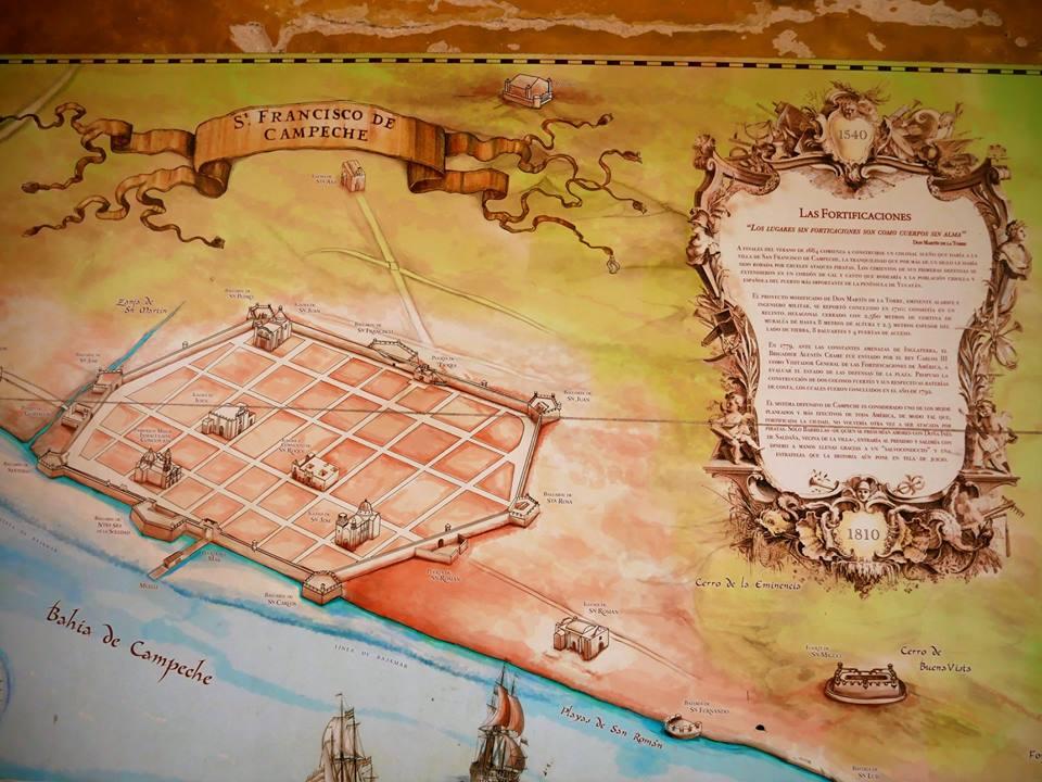 Mapa histórico de Campeche, la Muralla