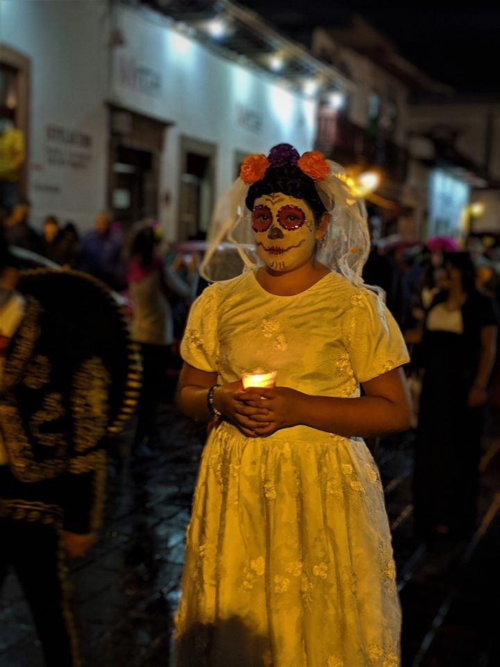 Catrina en Pátzcuaro, víspera del Día de los Muertos