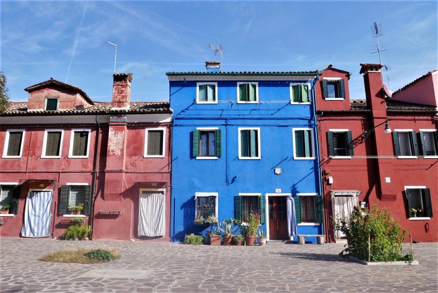 Casas de colores de Burano, islas de Venecia