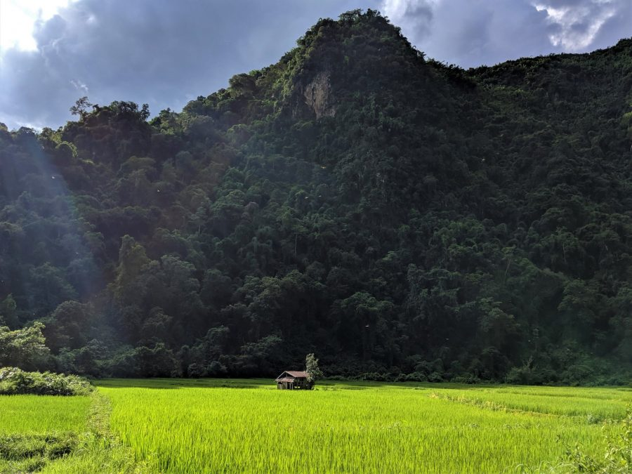 El paisaje de Vang Vieng, Laos