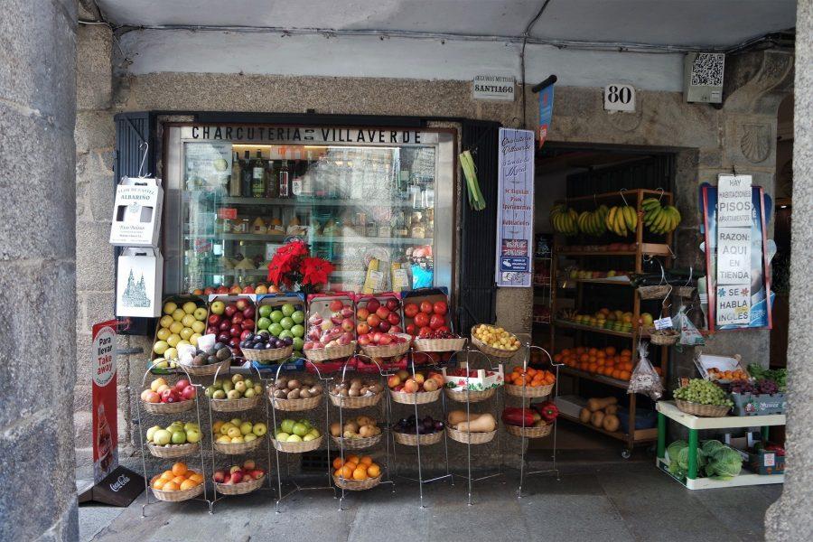 Frutería en el centro de Santiago de Compostela