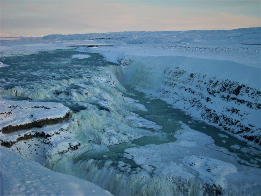 Atardecer en la cascada de Gullfoss, Islandia