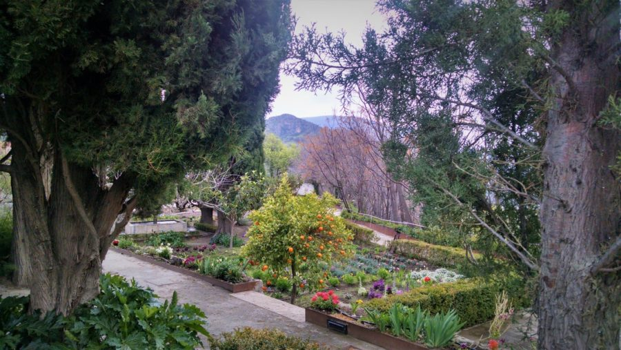 Cipreses y huerto, Jardín Nazarí de Vélez de Benaudalla