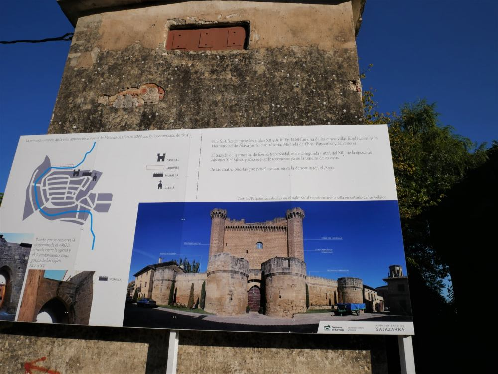 Cartel con los lugares que ver en Sajazarra, la Rioja Alta
