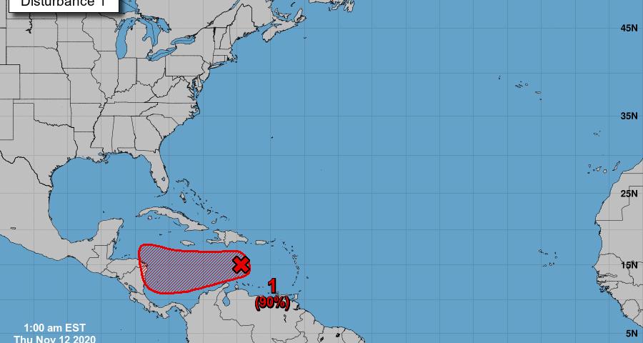 Onda tropical se ubica en el centro del Mar Caribe, desplazándose hacia el oeste