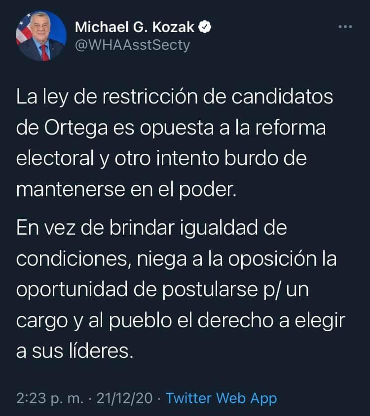 El diplomático estadounidense, Michael Kozak, critica la Ley que impide la participación de la oposición nicaragüense en las elecciones del 2021.