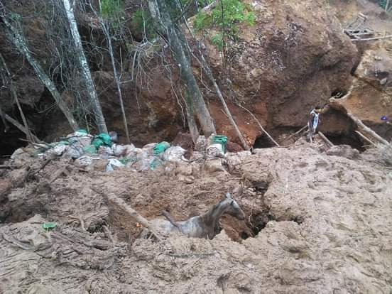 Derrumbe en mina de Rancho Grande, Matagalpa. Cortesía