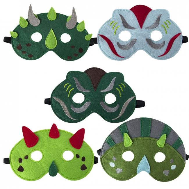 masques, dinosaure, feutre
