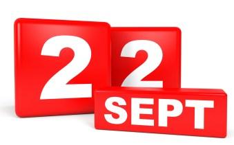 September 22. Calendar on white background. 3D illustration.