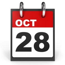 October 28. Calendar on white background. 3D illustration.