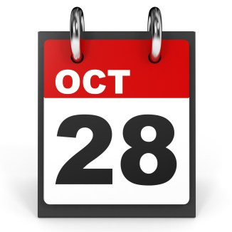 October 28. Calendar on white background. 3D illustration.