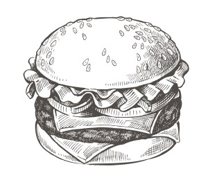 vector hand drawn hamburger