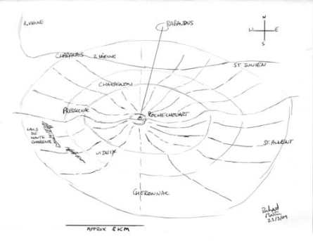 Diagram of meteorite crater