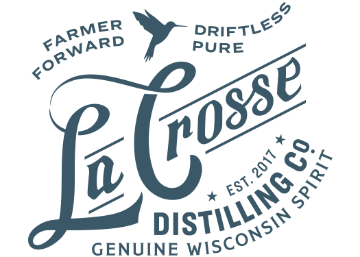 La Crosse Distilling Co. Est. 2017 Farmer Former Driftless Pure Genuine Wisconsin Spirit Logo
