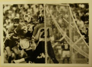 Dr. Opie scoring in the '85 finals with a Brine Super Light II with a semi-hard mesh pocket.