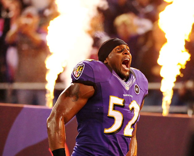 Sep 23, 2012; Baltimore, MD, USA; Baltimore Ravens linebacker Ray Lewis (52) prior to the game against the New England Patriots at M&T Bank Stadium. Mandatory Credit: Evan Habeeb-US PRESSWIRE