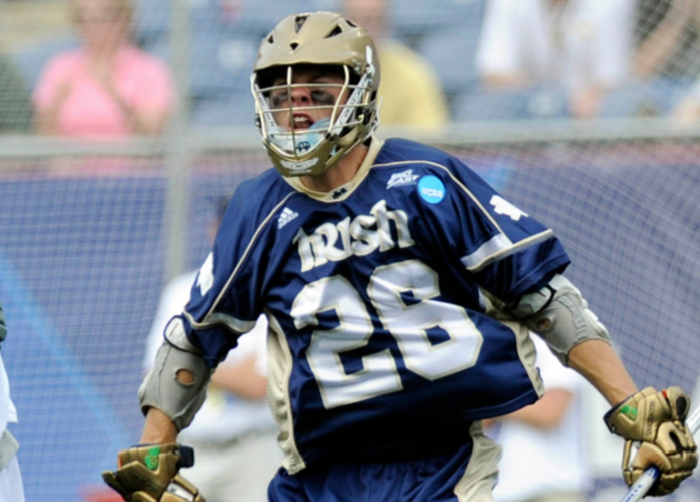 May 26, 2012; Boston, MA, USA; Notre Dame Fighting Irish midfield Jim Marlatt (26) celebrates a goal during the first half of the NCAA Division I semifinals against the Loyola Maryland Greyhounds at Gillette Stadium. Mandatory Credit: Bob DeChiara-USA TODAY Sports
