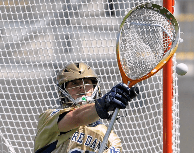 May 20, 2012; Chester, PA USA; Notre Dame Fighting Irish goalie John Kemp (1) makes a save against the Virginia Cavaliers during the second half of the NCAA Division I Men's Lacrosse Quarterfinals at PPL Park. The Fighting Irish won 12-10. Mandatory Credit: Eric Hartline-USA TODAY Sports