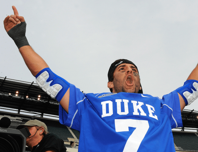 May 27, 2013; Philadelphia, PA, USA; Duke Blue Devils midfielder Jake Tripucka (7) celebrates his teams 16-10 victory over the Syracuse Orange following the 2013 NCAA Division I Men's Lacrosse Championship Game at Lincoln Financial Field. Mandatory Credit: Rich Barnes-USA TODAY Sports