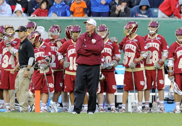 May 25, 2013; Philadelphia, PA, USA; Denver Pioneers head coach Bill Tierney looks on against the Syracuse Orange during the fourth quarter of the 2013 NCAA Division I Men's Lacrosse Semifinals at Lincoln Financial Field. Syracuse won the game 9-8. Mandatory Credit: Rich Barnes-USA TODAY Sports