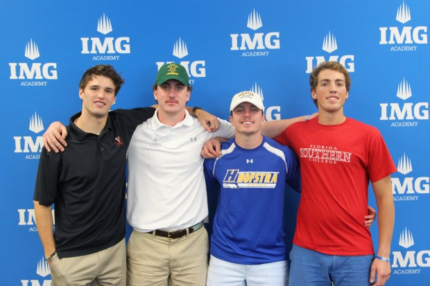 Lacrosse signees - L to R - Nick Wood - Mike Dowell - Tyler Liotta - Max Smith