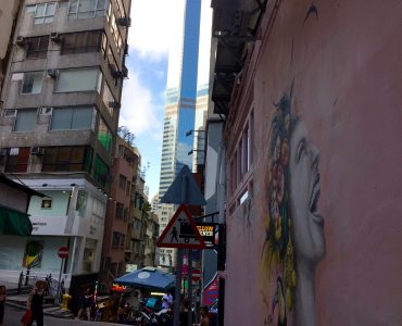 Hong Kong Central Hollywood Road artistic character on street everywhere