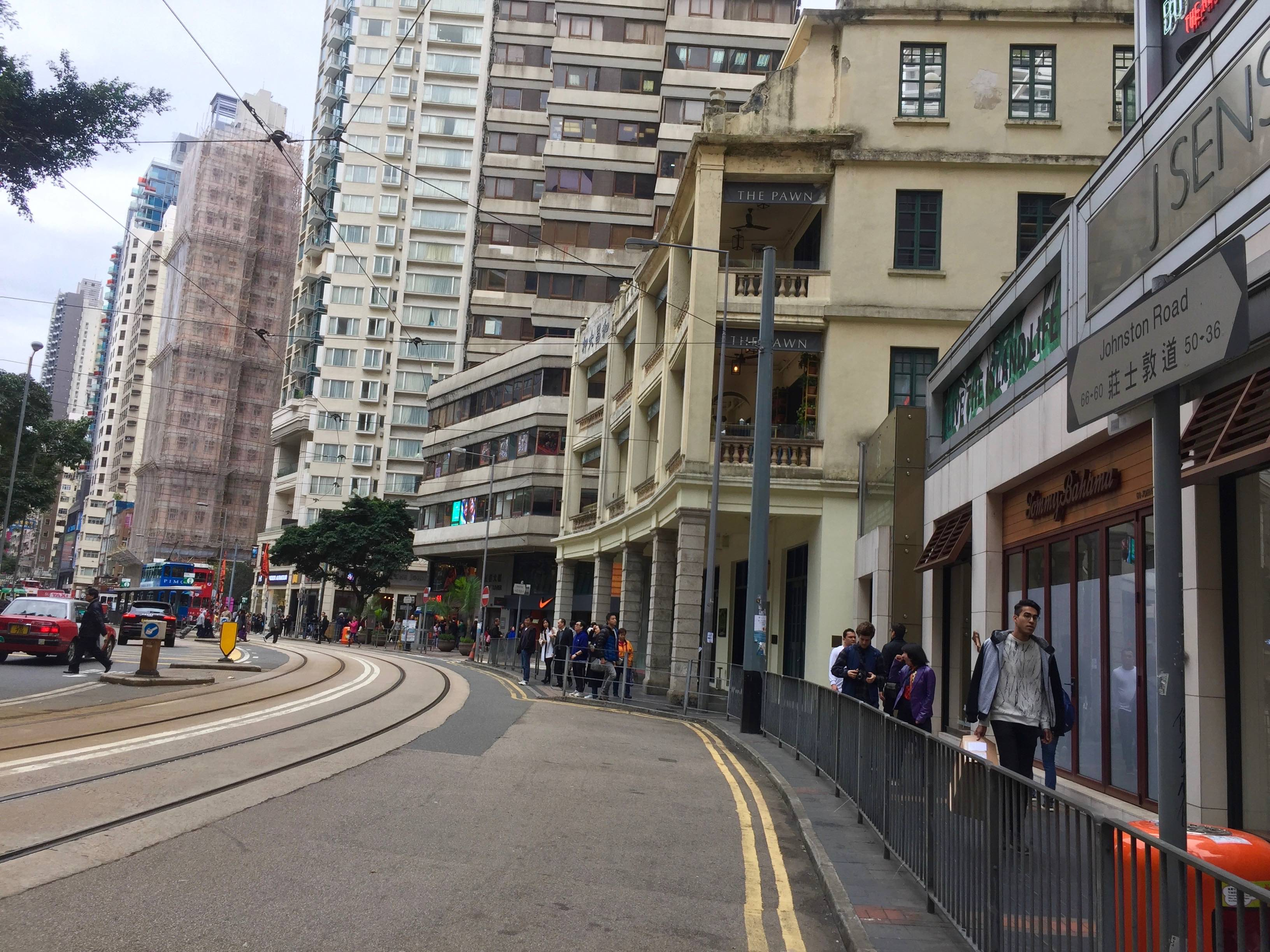 Hong Kong Wan Chai Ship Street at junction Johnston Road with numbers of starred restaurants