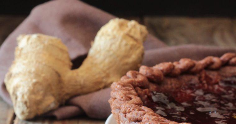 Crostata con frolla al cacao e zenzero