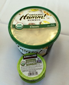 Two kind of store bought hummus.