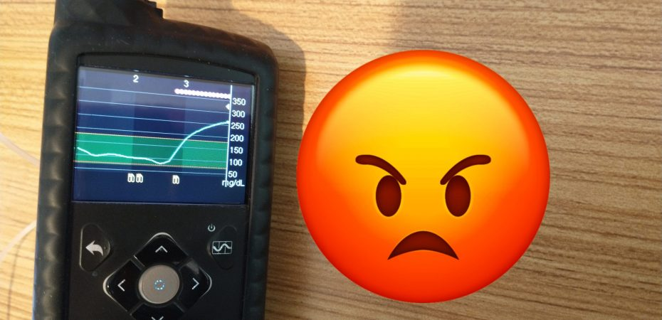 Insulin pump showing high blood glucose and rage emoji