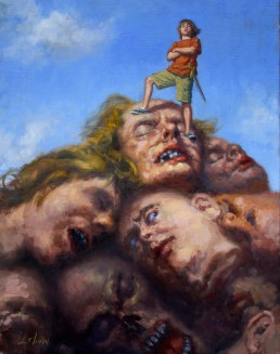 Dave-Lebow-Boy with Troll's heads