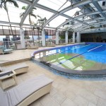 """Big liquor store The Gaia Hotel"" indoor pool and fitness facilities"