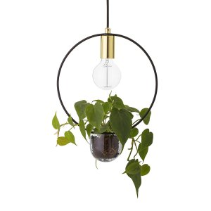 Suspension-doree-avec-vase-incorpore