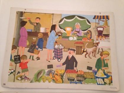 Affiche scolaire Nathan 1966 _ Le marché