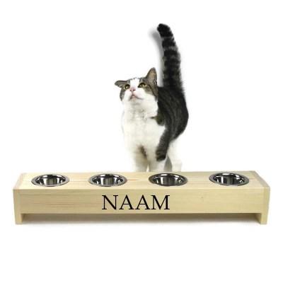 Katten voerbak 4 bakjes, 11 cm hoog 71 cm breed