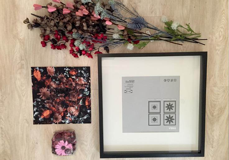 outils necessaires pour réalisation DIY tableau fleuri