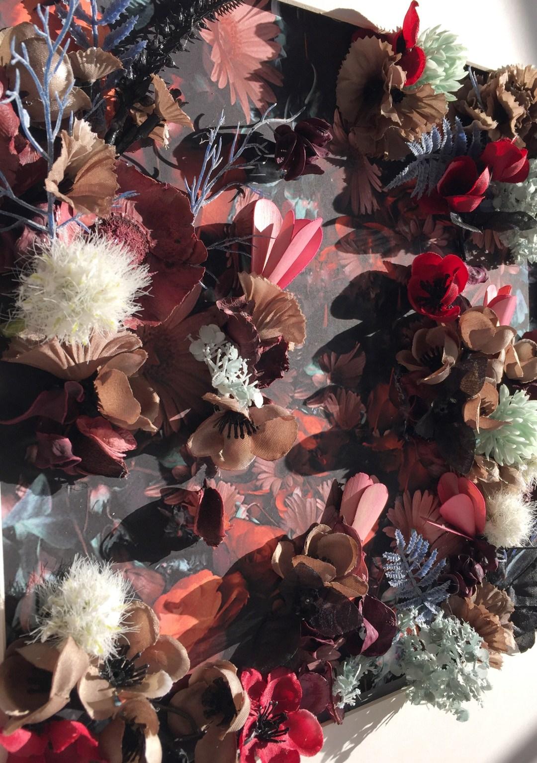 zoom relief des fleurs tableau DIY