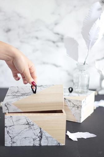 boite marbre DIY languette cuir