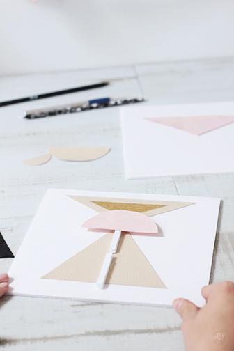 installation baguette centrale DIY tableaux géometriques