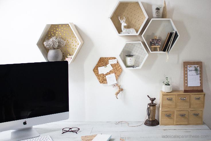 La Délicate Parenthèse création DIY blog etagères hexagonales