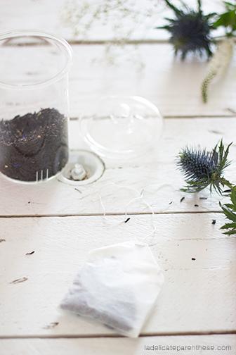 Sachets de thé handmade avec fleur pour l'automne