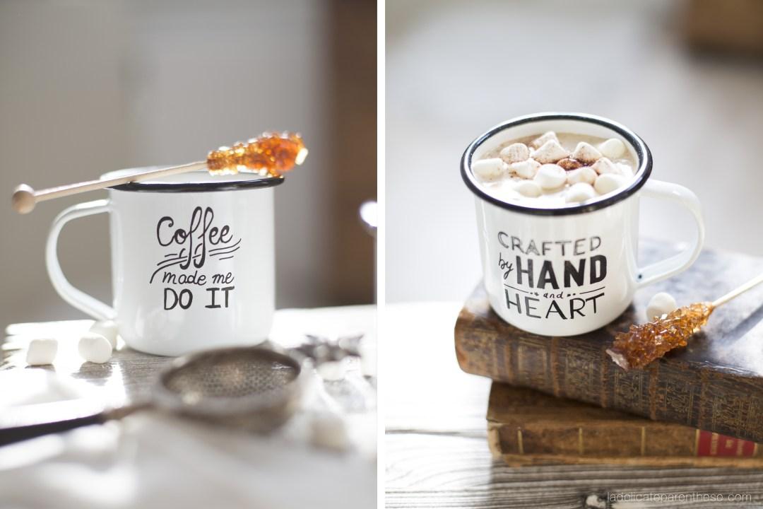 set design mug émail DIY création