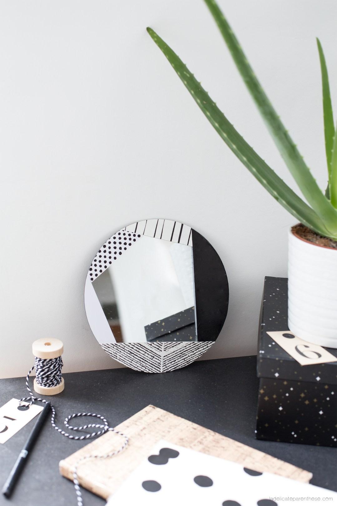 Handmade création DIY personnaliser son miroir avec du papier peint
