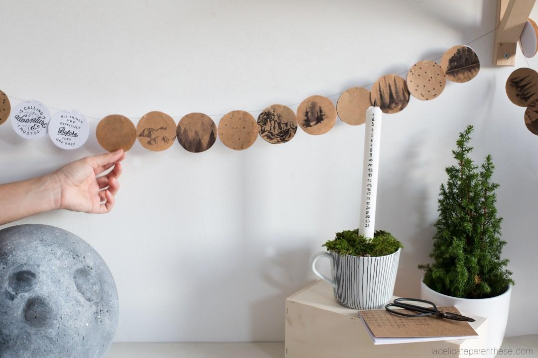 calendrier de l'avent DIY blog déco en papier sous forme de guirlande motivante