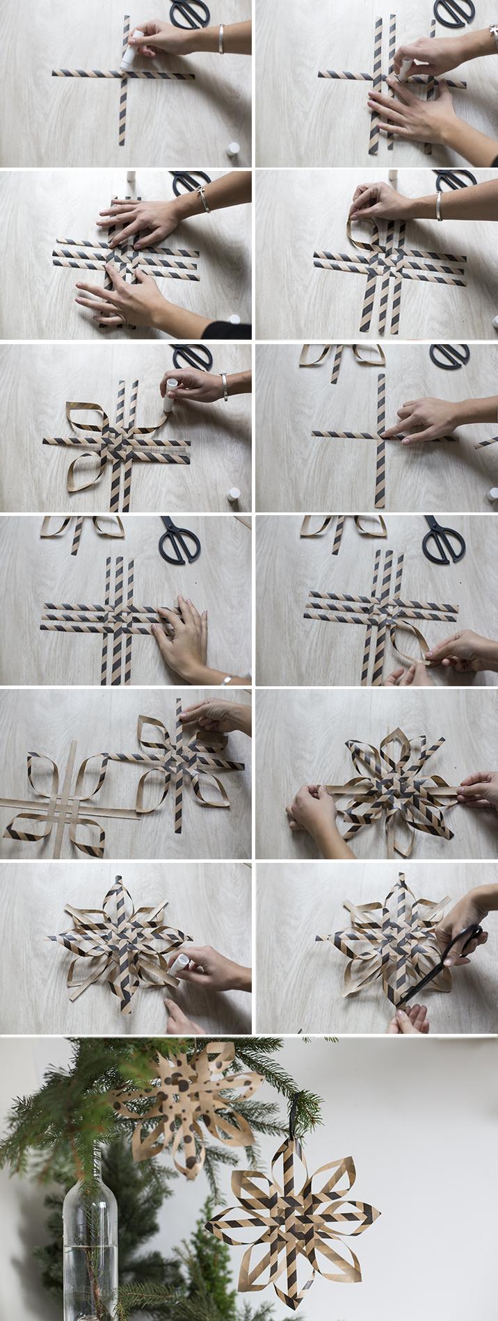 etapes de pliage et origami pour l'étoile en papier à suspendre dans le sapin, création