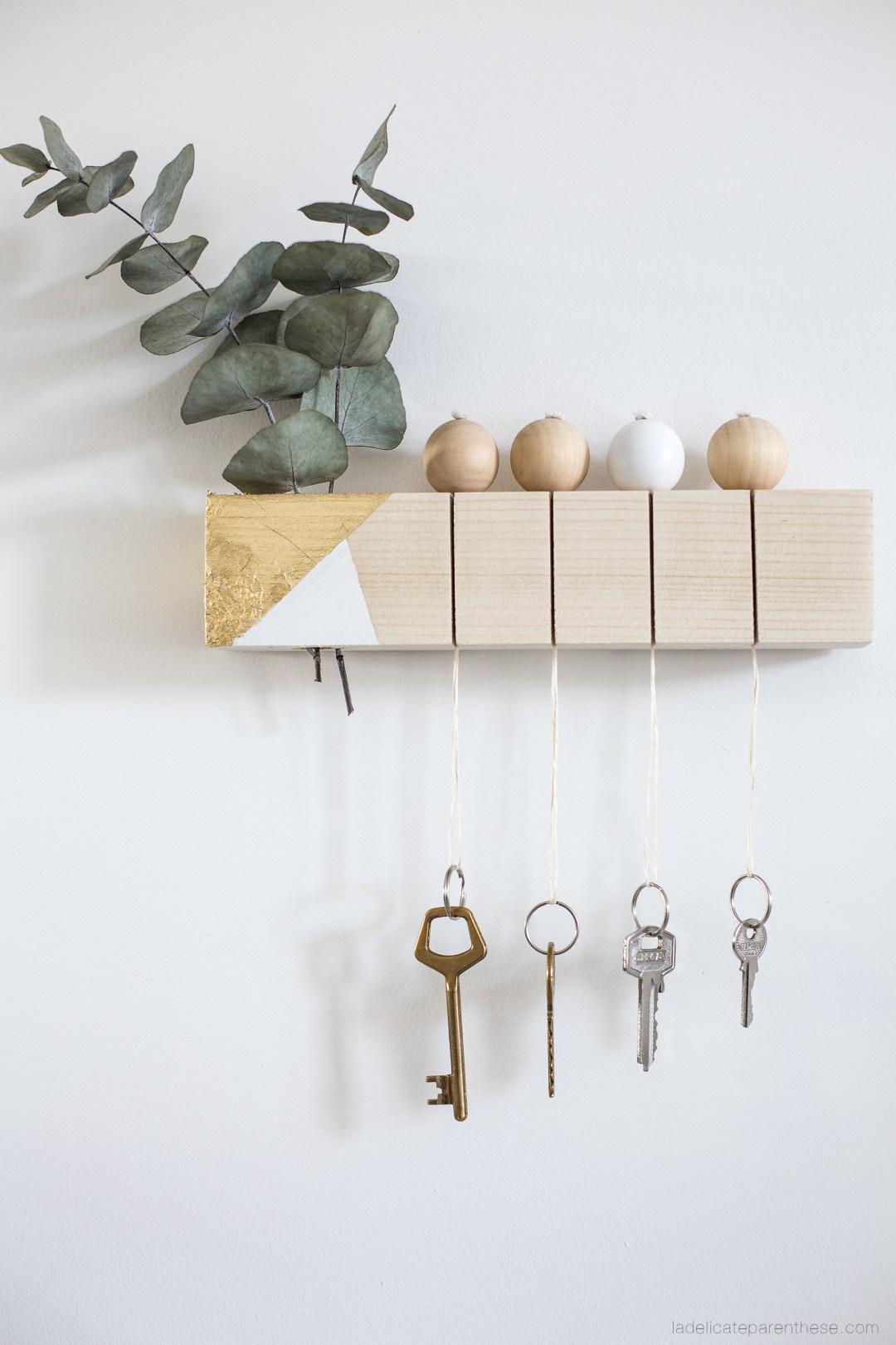 porte clef en bois bricolage pour s'organiser, DIY